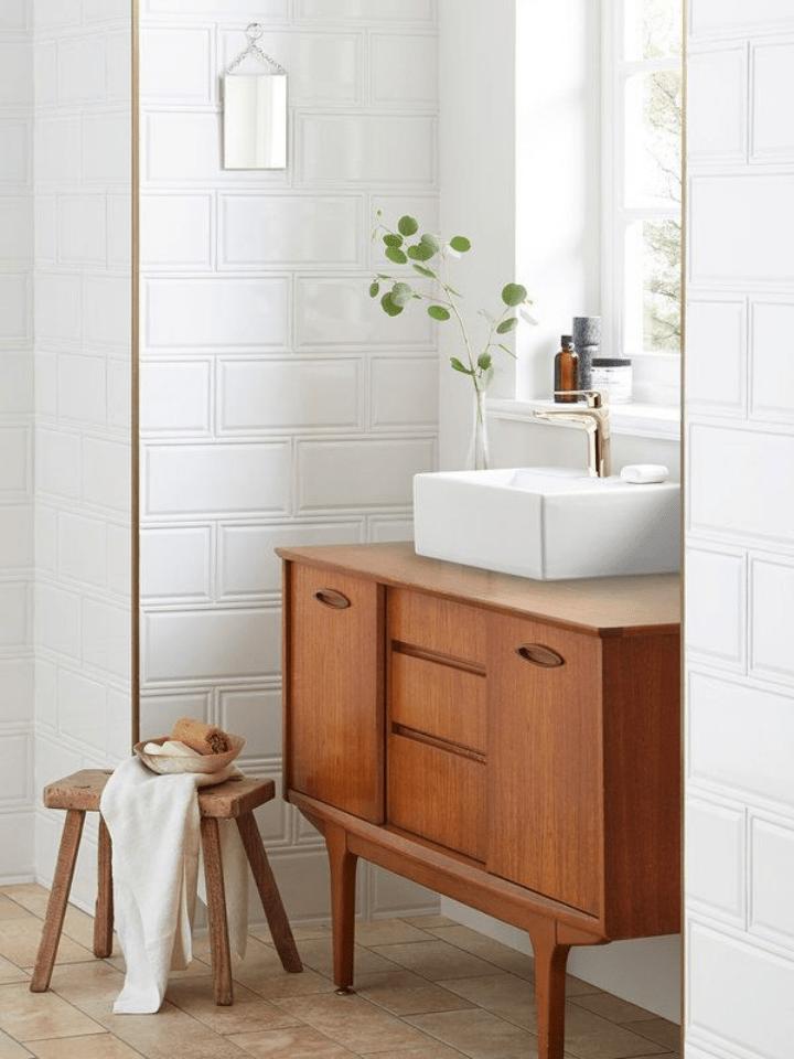reformas low cost: muebles restaurados para el lavabo