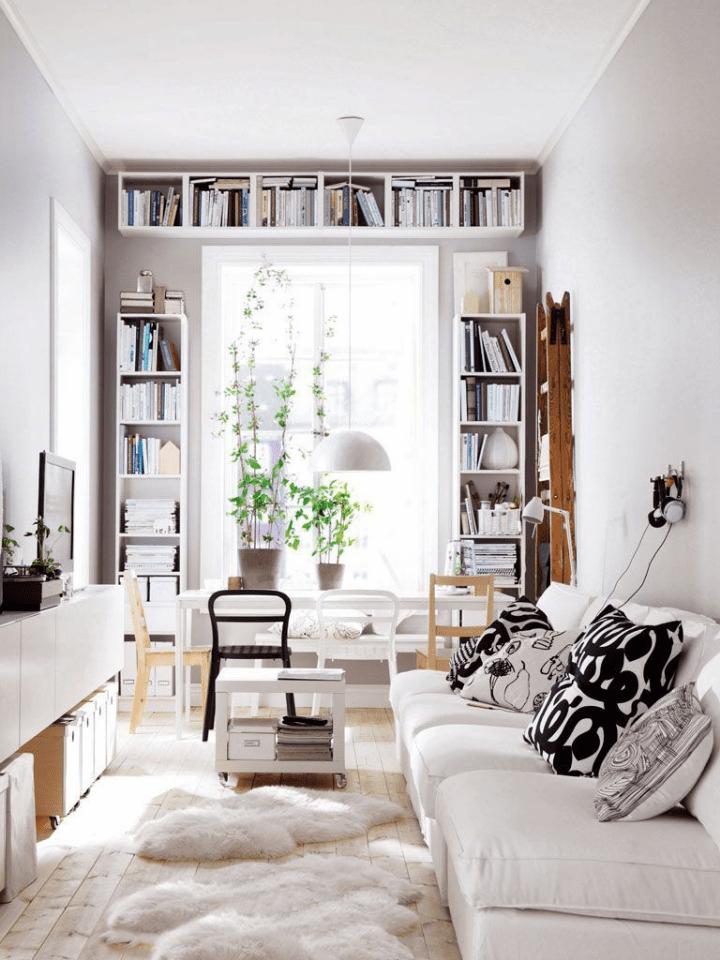 Estanterías para libros: pisos pequeños