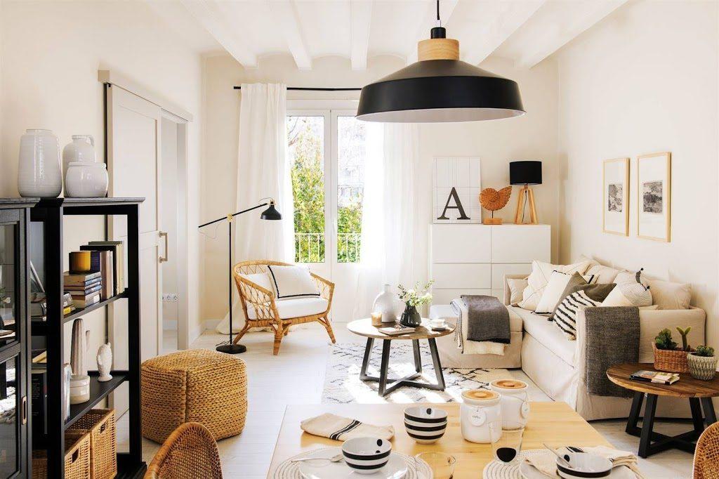 piso pequeño decorado en blanco y negro