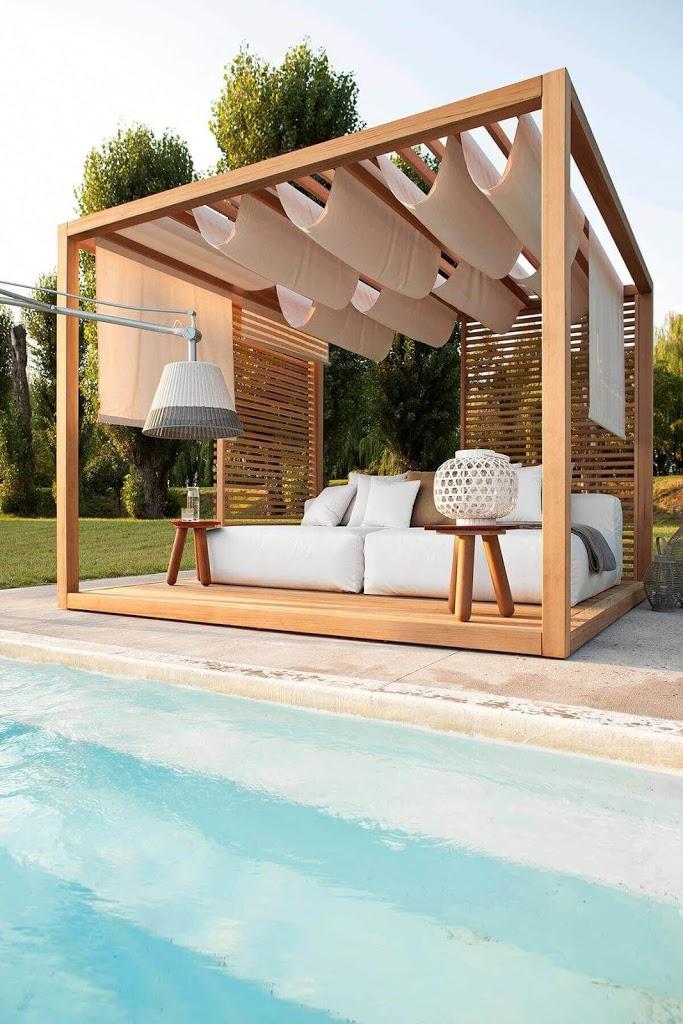 pérgola de madera para crear sombra en la terraza