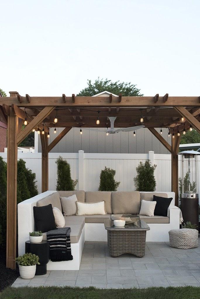 espacios con sombra en la terraza. Pérgola de madera