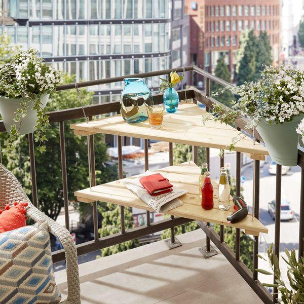 mesa esquinera para balcones pequeños