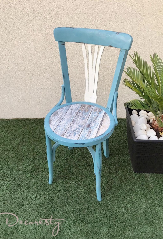 silla reciclada y pintada con chalk paint