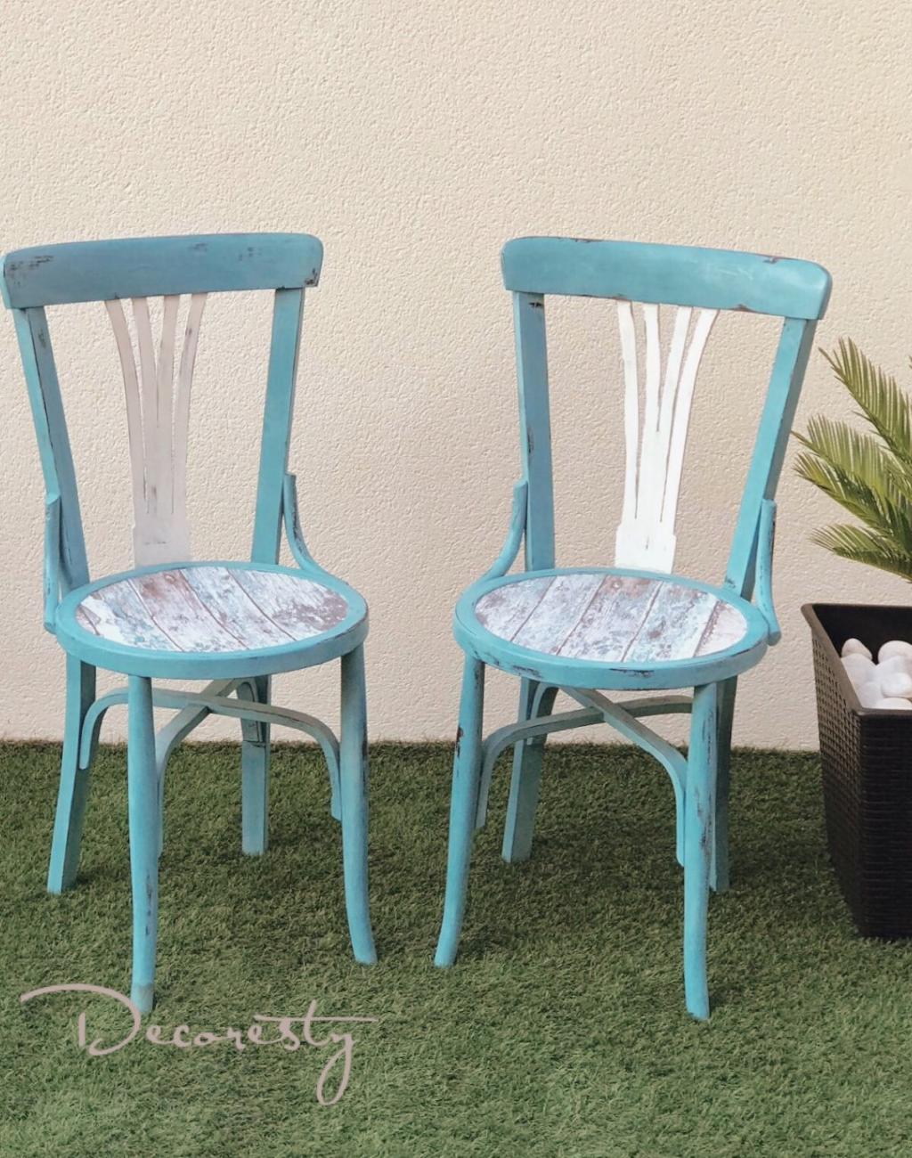 sillas restauradas de estilo marinero