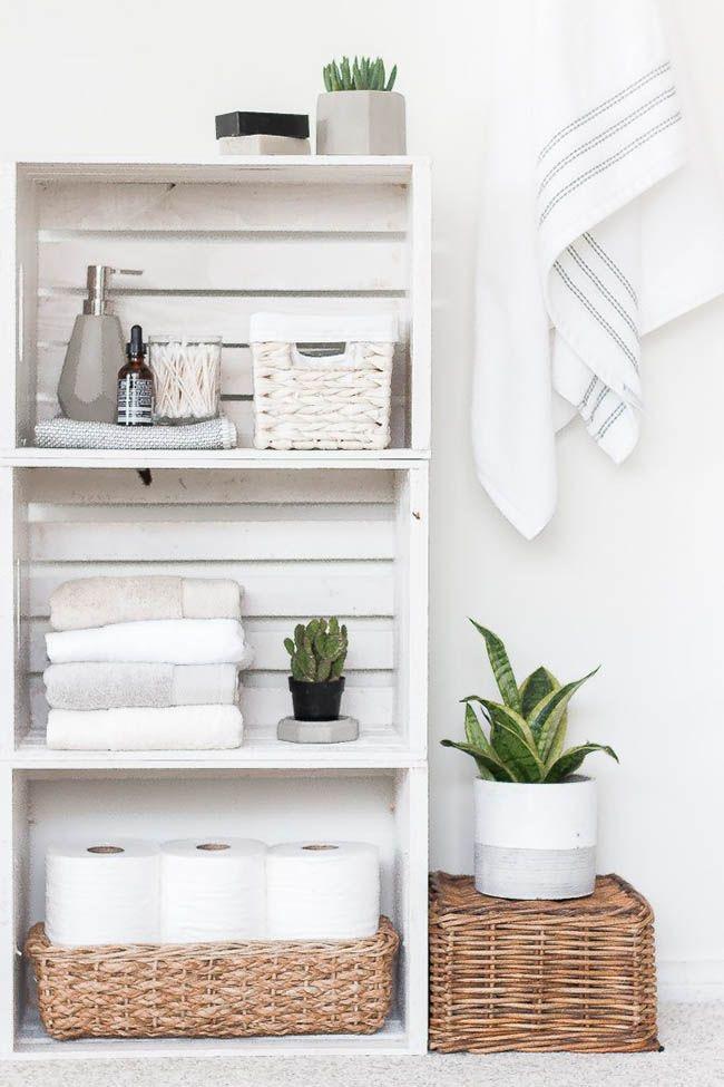Ideas para decorar con cajas de madera. Almacenaje baños