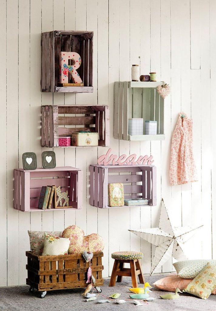 Ideas para decorar con cajas de madera el cuarto de los niños: almacenaje para los juguetes