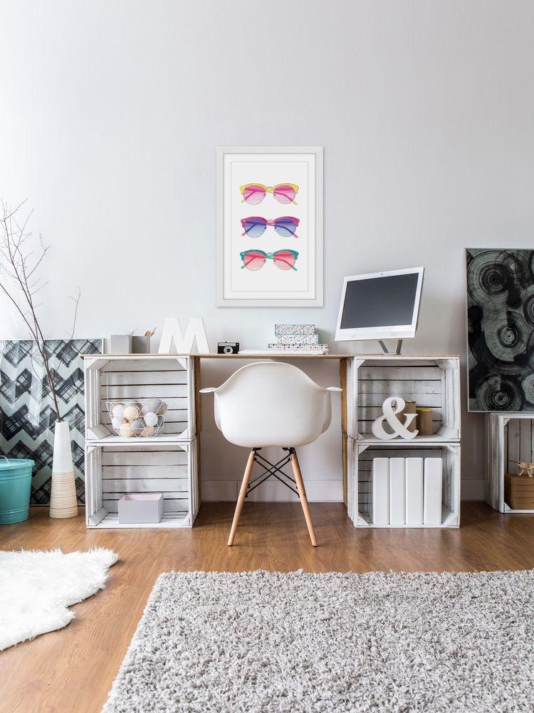 Mesa de trabajo original y divertida, hecha con cajas de madera