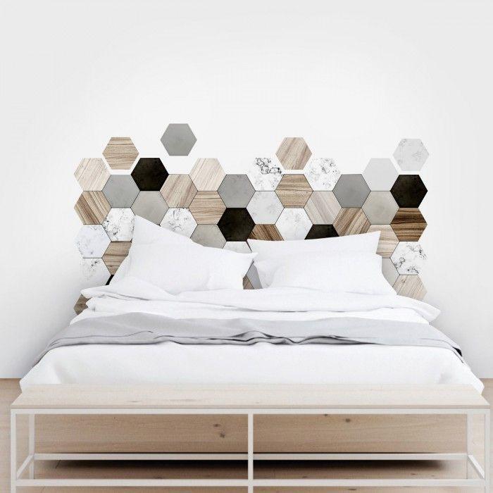 Cabeceros de cama con azulejos hexagonales para el dormitorio