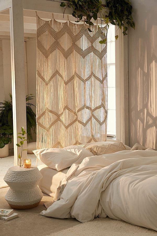 cortinas de macramé para dormitorio bohemio