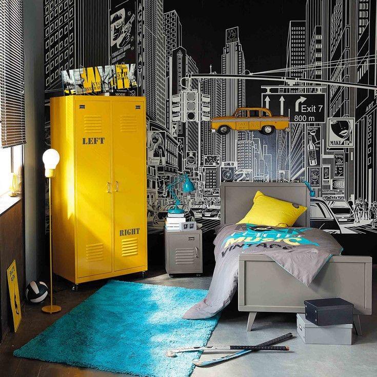 Taquilla metálica en amarillo para dormitorio juvenil