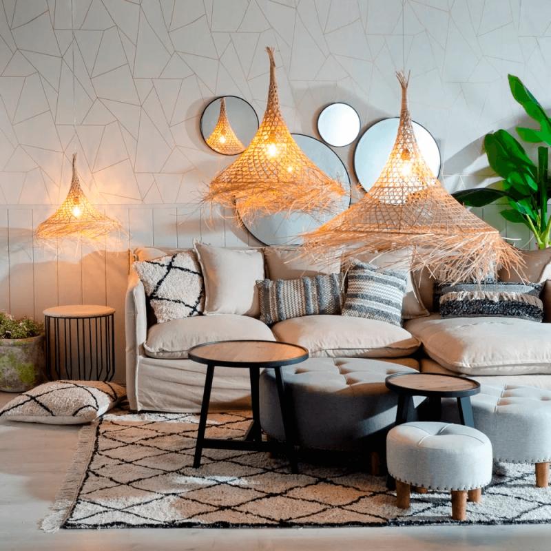 Originales lámparas en fibras naturales