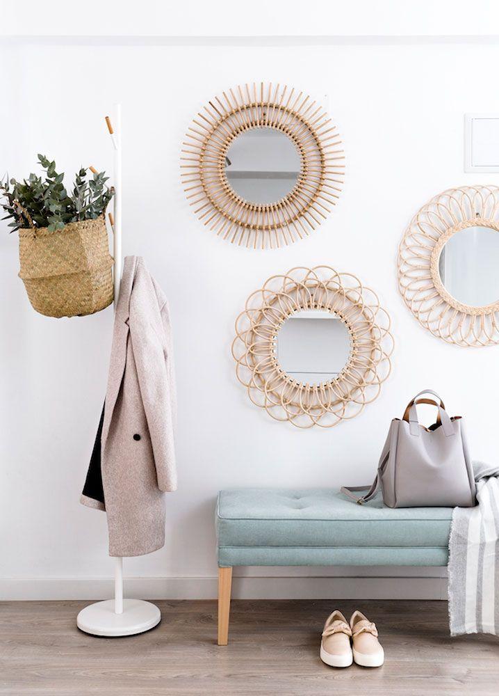 Espejos de ratan para decorar