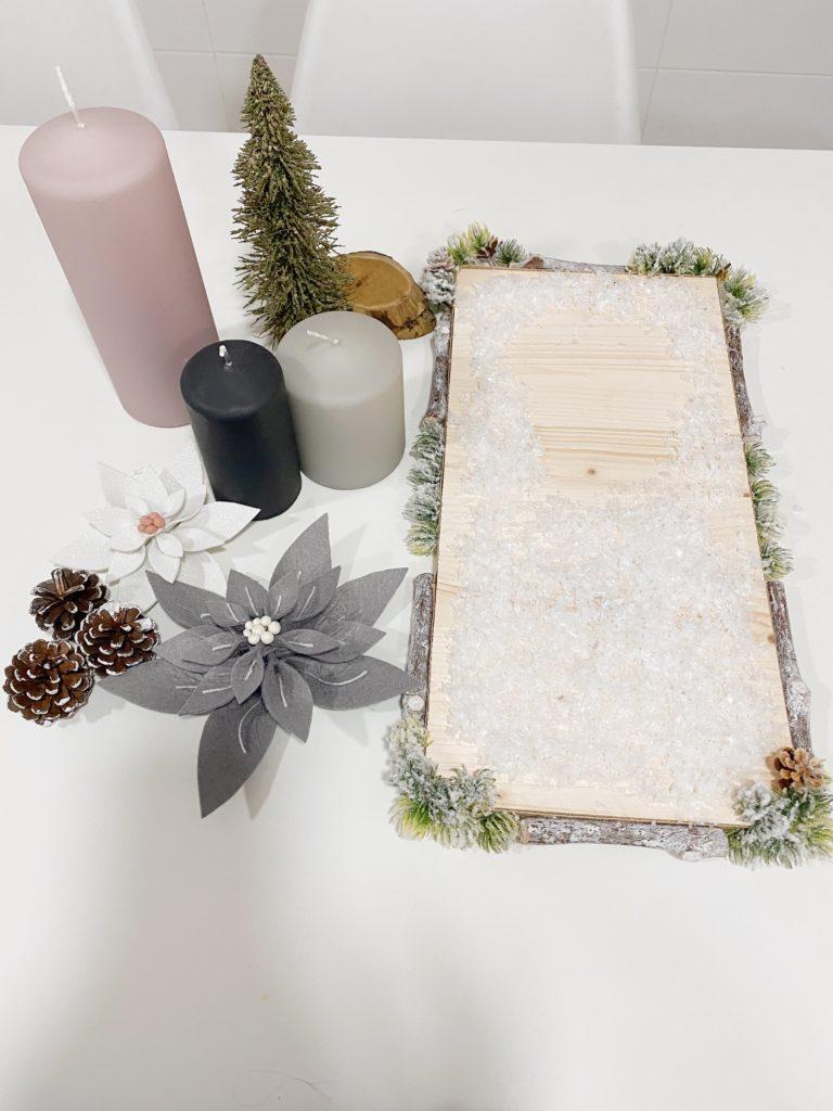 Materiales para hacer un centro de mesa navideño