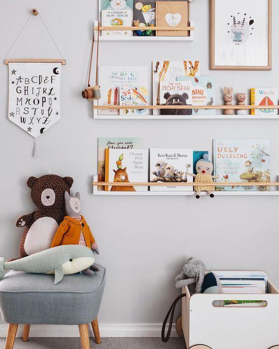 expositores para cuentos en habitaciones infantiles