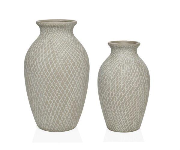 jarrones decorativos de cerámica gris