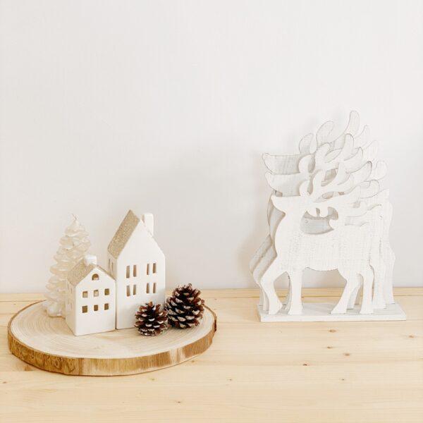 adorno renos de madera luminosos para navidad