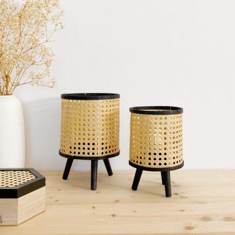 portavelas madera negro y fibra natural