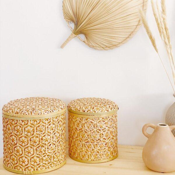 caja de almacenaje con tapa de fibras naturales