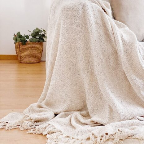 plaid de algodón con flecos