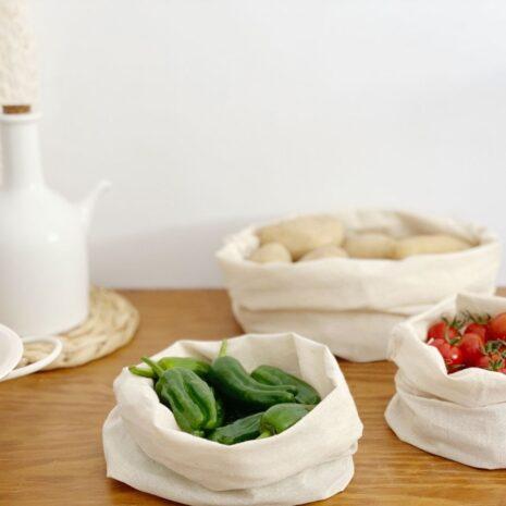 bolsas organizadores alimentos de algodón orgánico