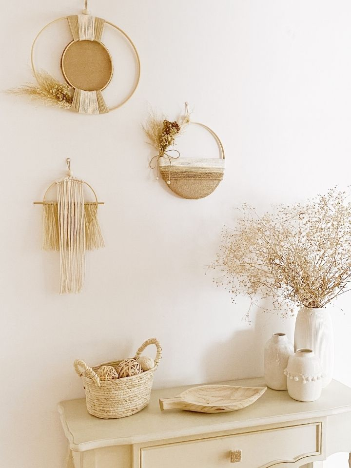Diy: ideas para decorar la pared con bastidores y macramé