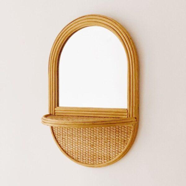 espejo con balda de fibras naturales