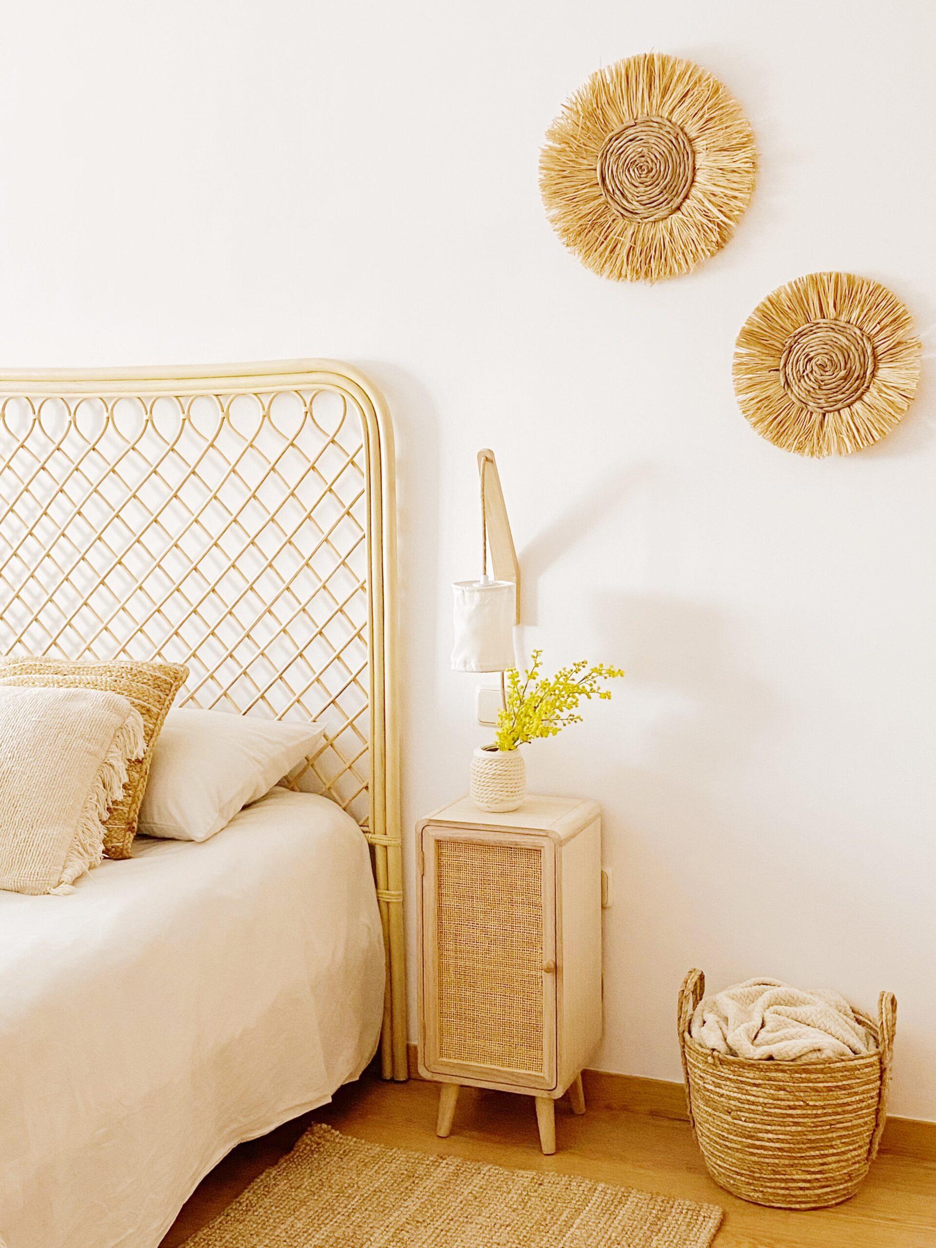 decoración de pared en rafia