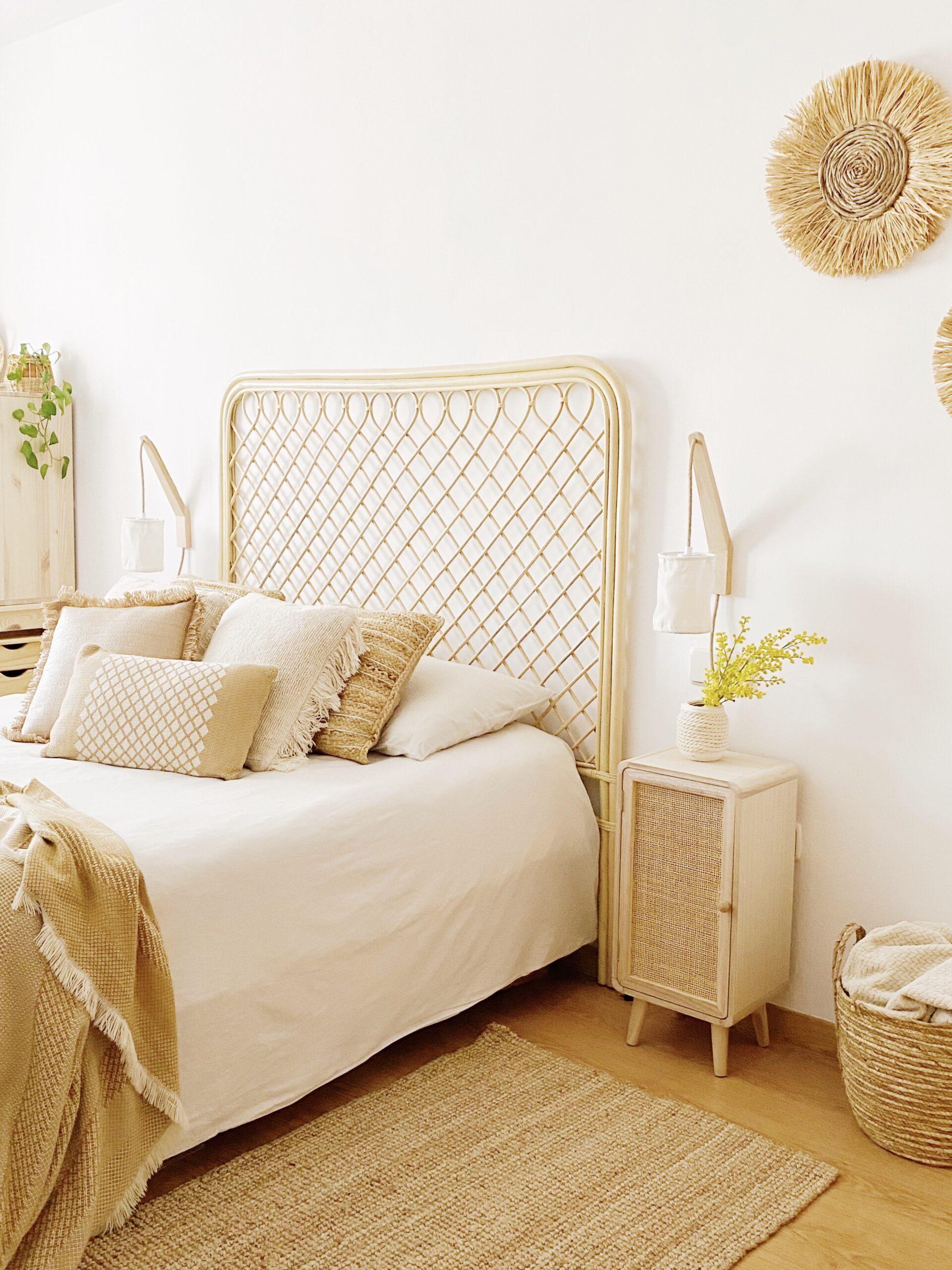 cabecero de cama en fibras naturales