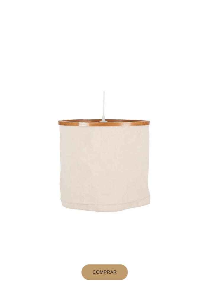 lámpara de techo en madera y algodón
