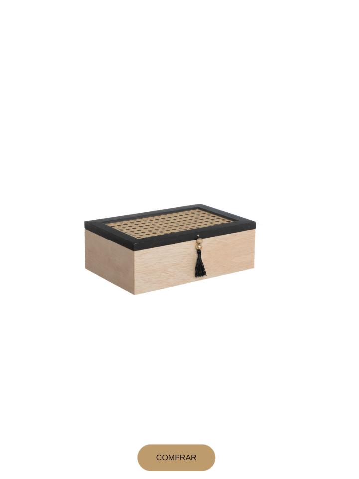 caja de té en madera y cannage en color natural y negro