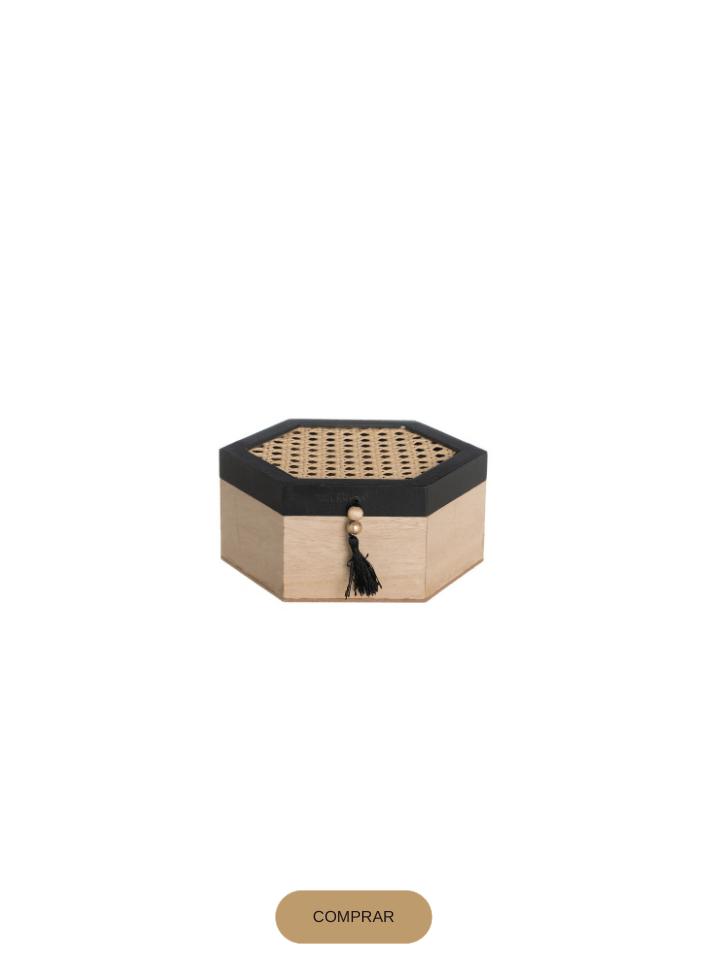 caja hexagonal de madera y rattan en color natural y negro