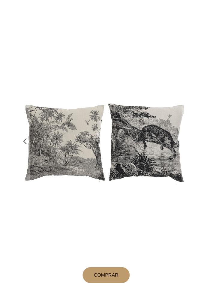 Textiles: cojines blancos con dibujo de selva en negro