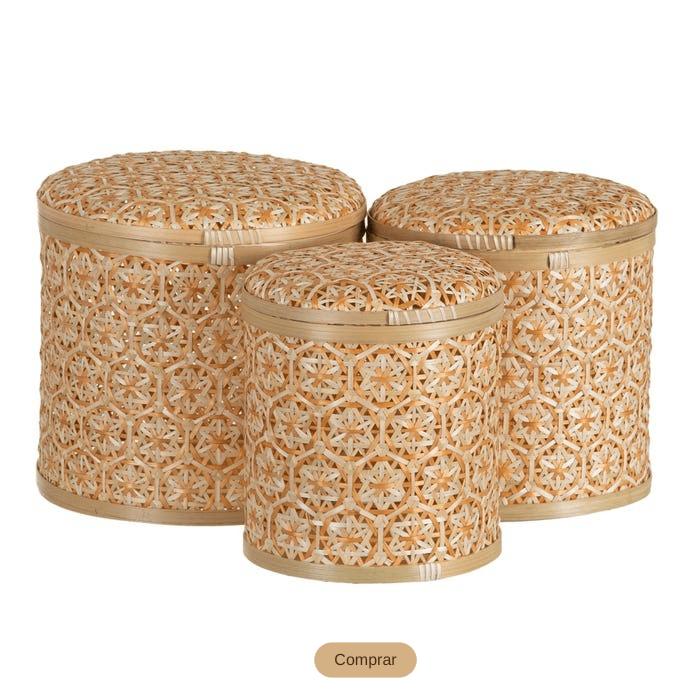 conjunto de cajas de bambú trenzado con tapa