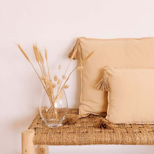 cojín natural con borlas de yute: pareja de cojines de algodón en color beige