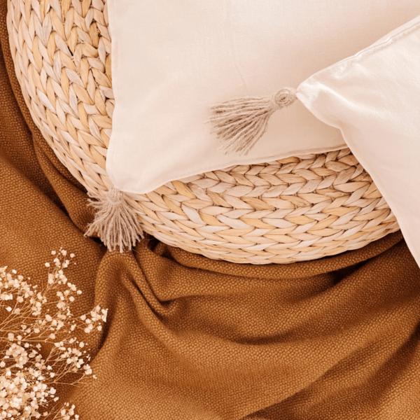 cojín natural de algodón: textiles otoño
